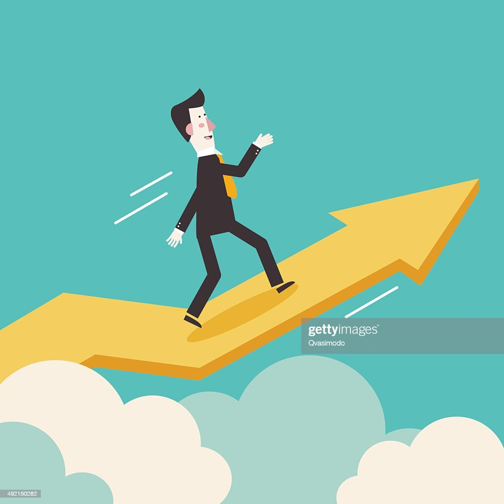 Successful businessman with a growing chart. Modern vector illustration design