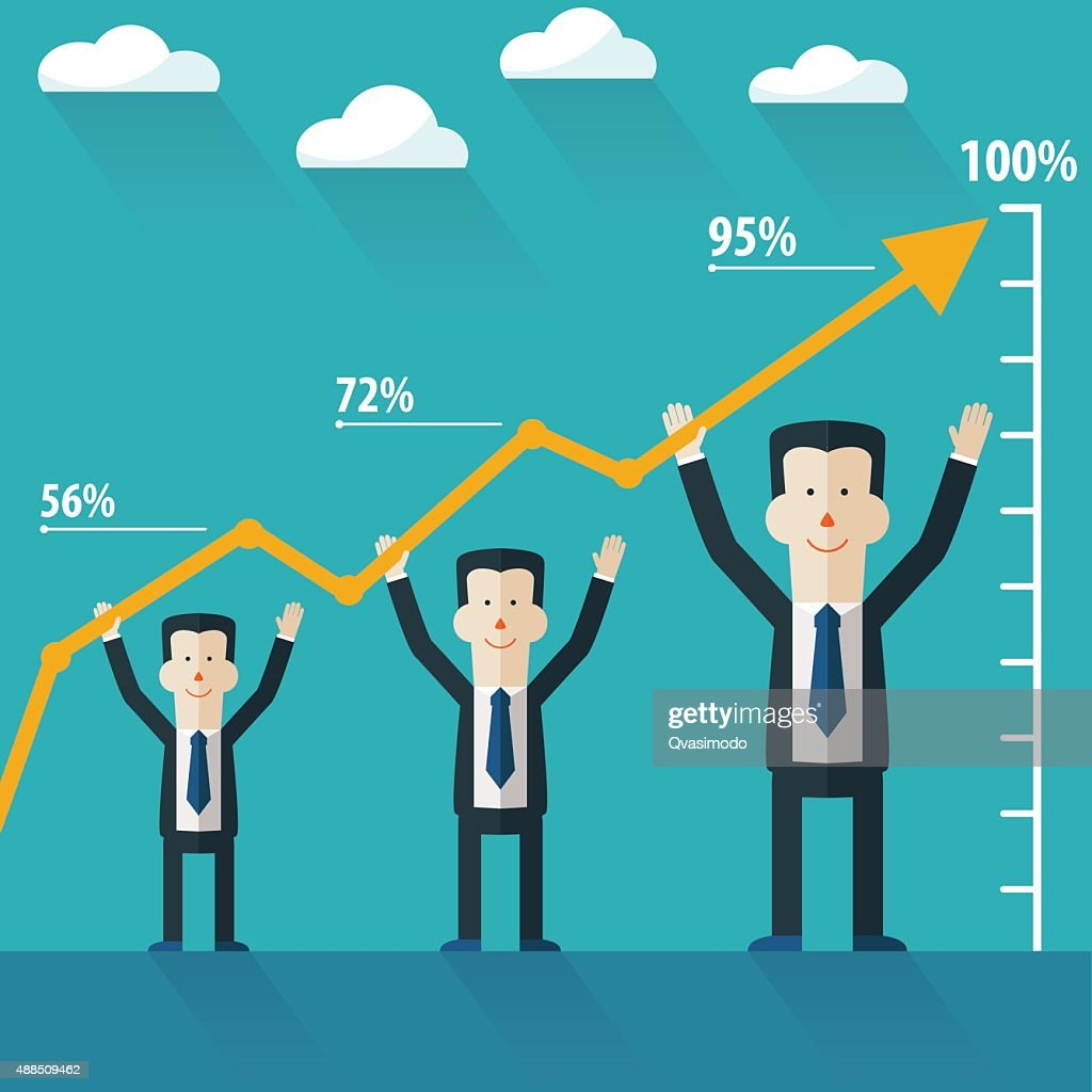 Successful businessman with growing chart. Success and growing vector concept