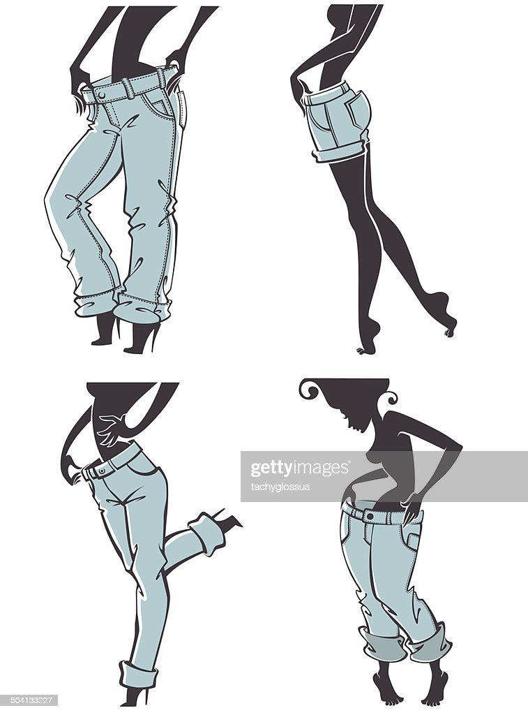 successful diet, girls and jeans, vector collection