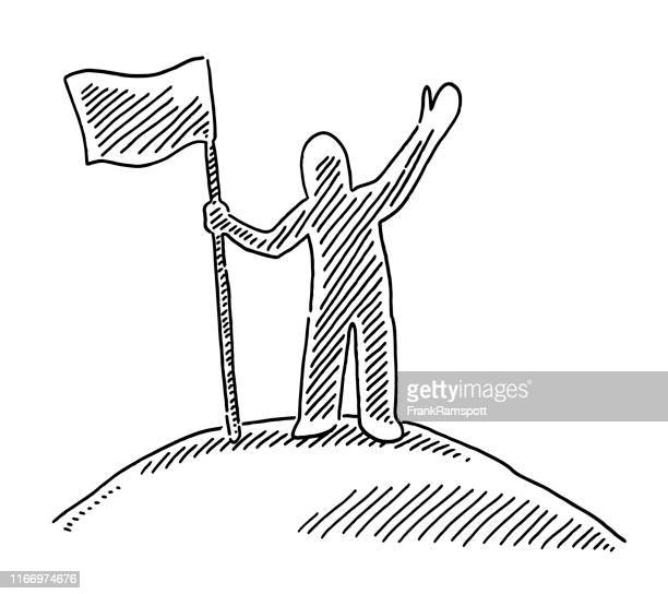successful human figure holding flag on top drawing - the end stock illustrations