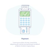 Successful Payment by credit card using POS terminal (reader), Approved Payment - Isolated vector illustration.