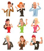 Successful professional business people talking his cell phone vector illustration