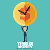 Successful smiling business man with clock time an money symbol