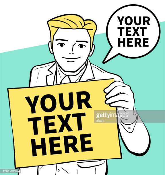 successful smiling young global leader (gentleman, businessman, entrepreneur, art agent or financial advisor) holding a blank sign - chairperson stock illustrations