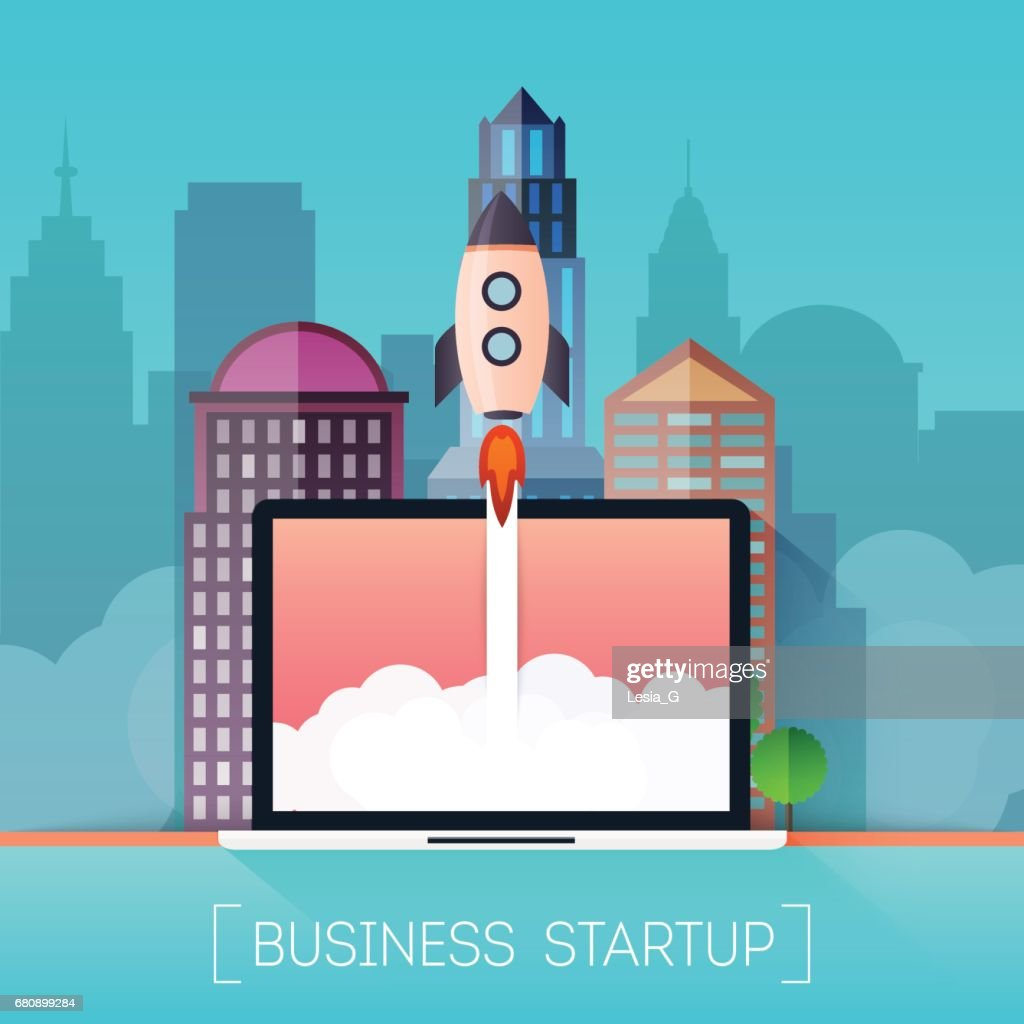 Successful startup business concept. Rocketship on computer for startup media.