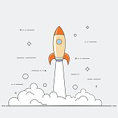 Successful startup business concept. Vector illustration with rocket launch and laptop on the background.