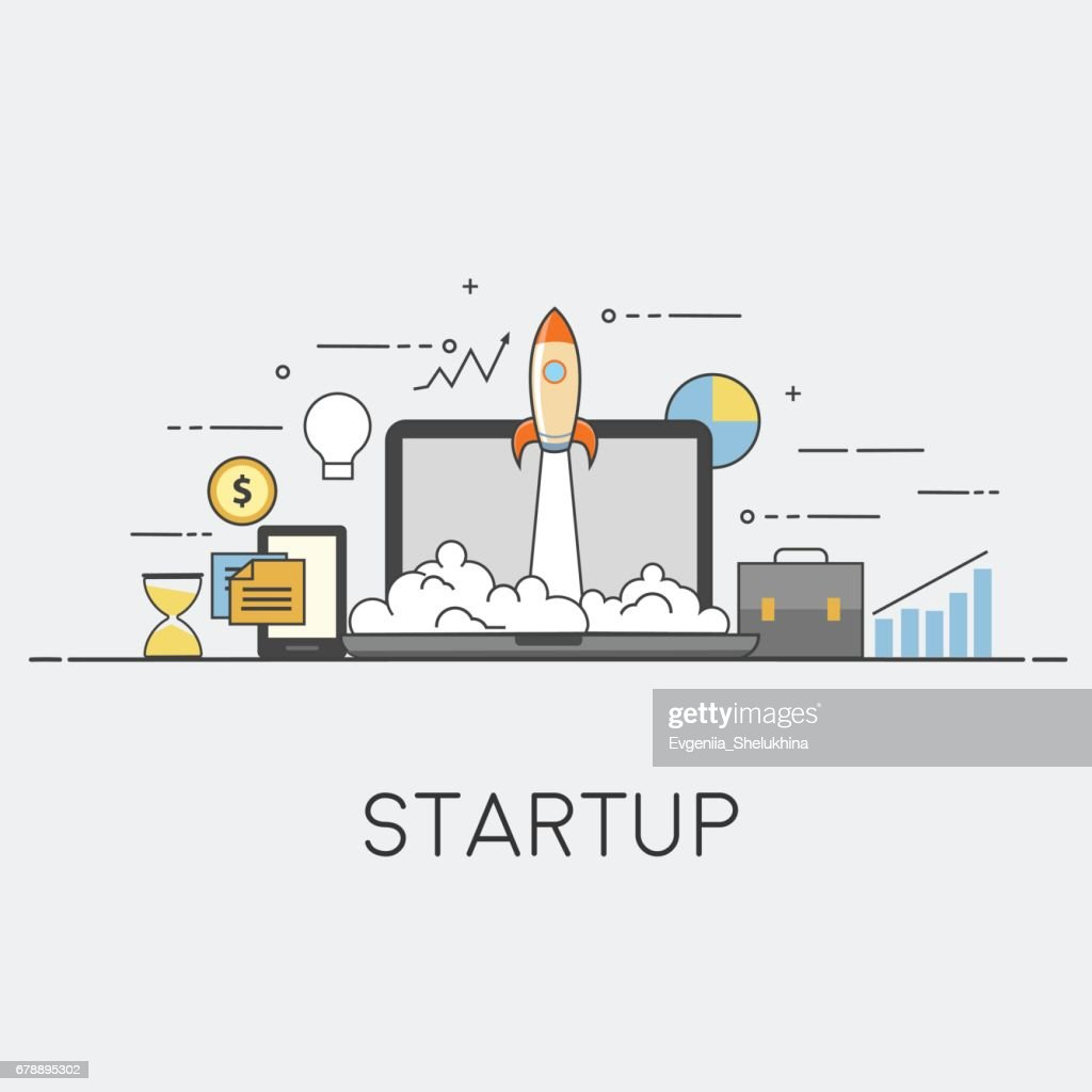Successful startup. Vector illustration with rocket launch and laptop on the background.