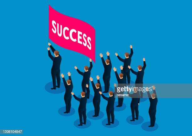 successful team, businessman carrying red flag cheering forward - participant stock illustrations