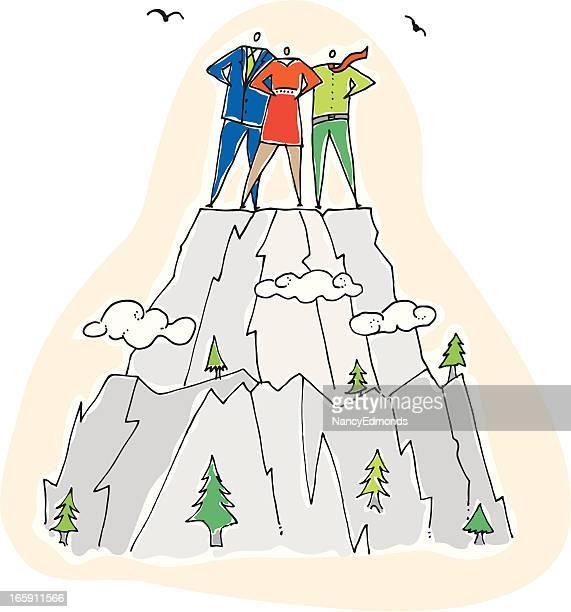 成功のチームの山頂 - 内陸部の岩柱点のイラスト素材/クリップアート素材/マンガ素材/アイコン素材
