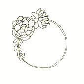 Succulent flowers monogram wreath hand drawn line art.