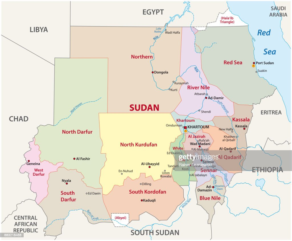 Political Map Of Sudan.Sudan Administrative And Political Map Vector Art Getty Images