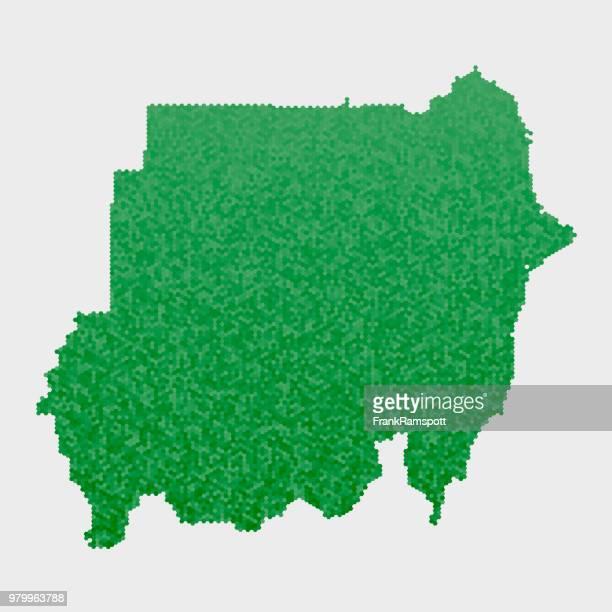 Sudan Land Map grünen Sechseck-Muster