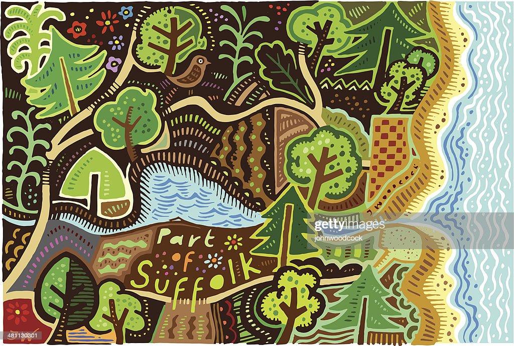 Suffolk hand drawn map : stock illustration