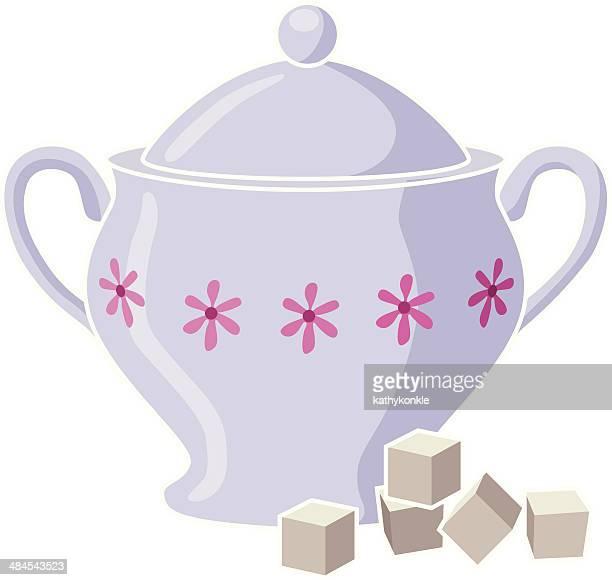 sugar bowl and cubes