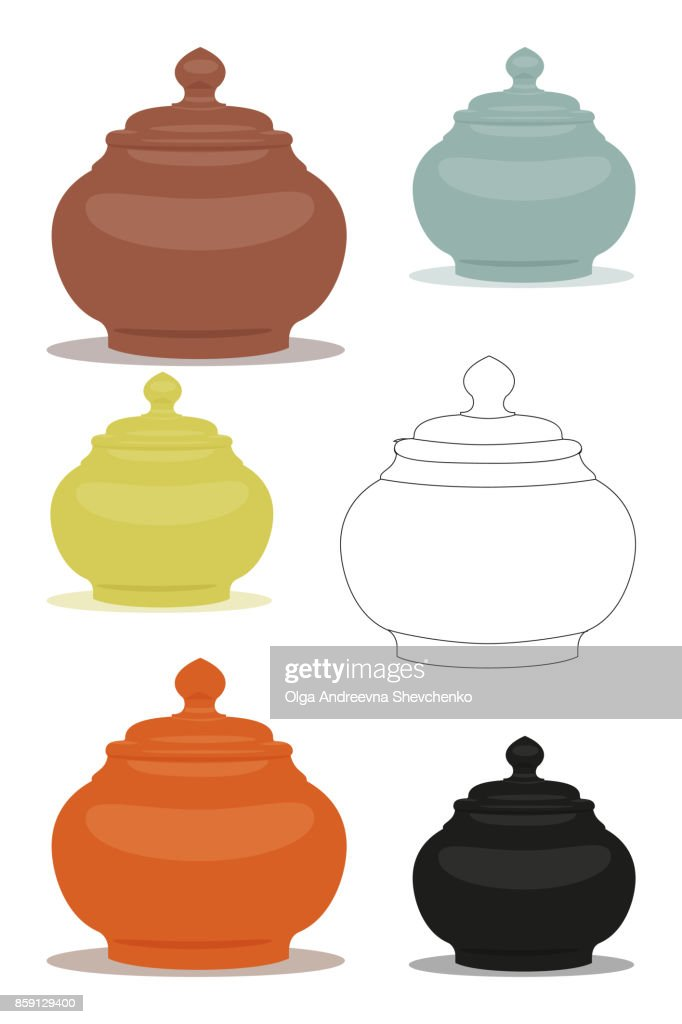 Sugar bowl of different cly types illustration set.