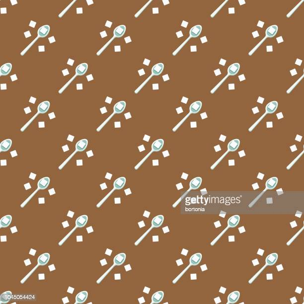 sugar coffee seamless pattern - sugar cube stock illustrations, clip art, cartoons, & icons