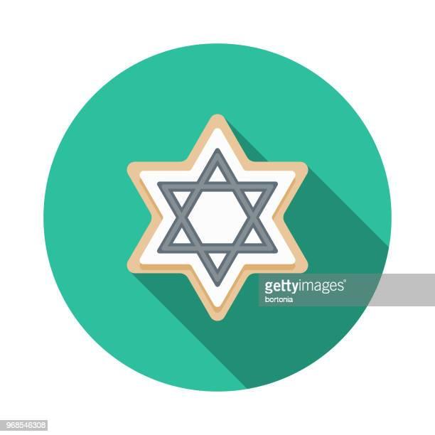 sugar cookie flat design hanukkah icon - hanukkah stock illustrations, clip art, cartoons, & icons