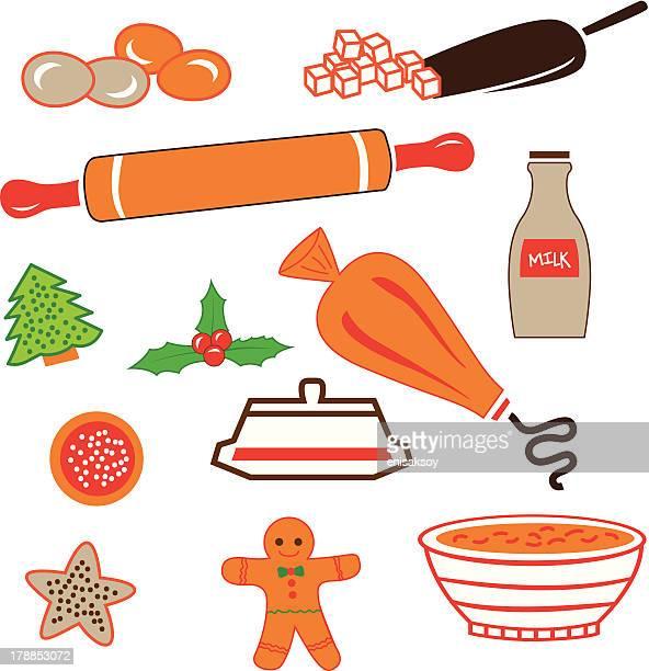 ilustrações, clipart, desenhos animados e ícones de biscoitos açucarados com utensílios de cozinha - rolo