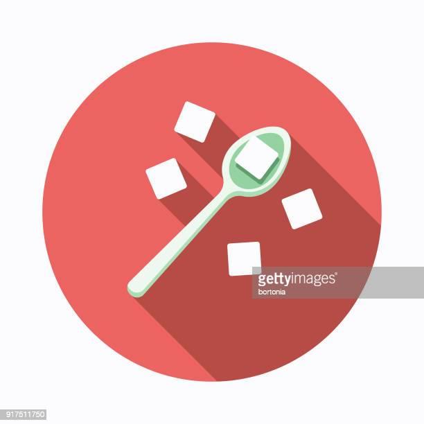 砂糖フラット デザイン ベーキング アイコン - ティースプーン点のイラスト素材/クリップアート素材/マンガ素材/アイコン素材