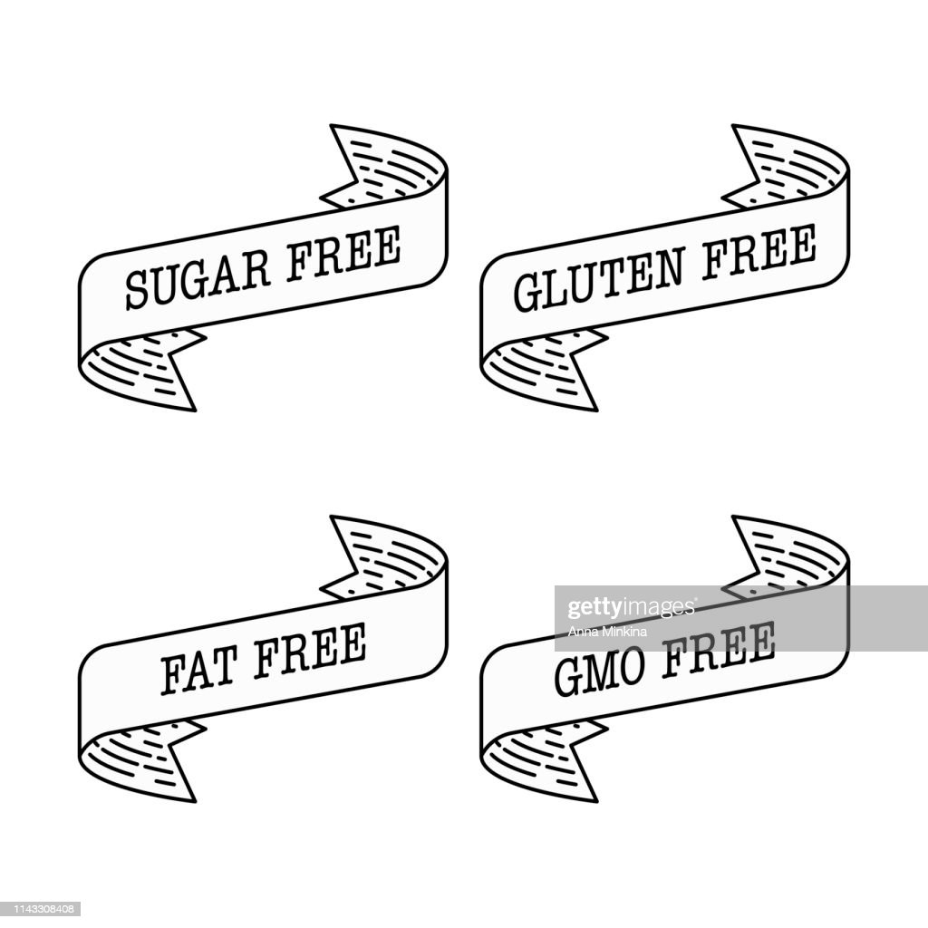 Sugar free, gluten free, gmo free, fat free label vector illustration