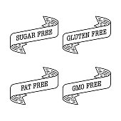 Sugar free, gluten free, gmo free, fat free label vector illustration