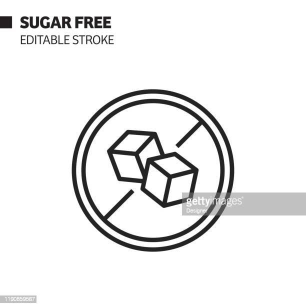 illustrations, cliparts, dessins animés et icônes de icône de ligne sans sucre, illustration de symbole de vecteur de d'contour. pixel perfect, avc modifiable. - sucre
