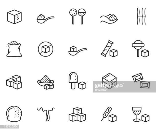 ilustraciones, imágenes clip art, dibujos animados e iconos de stock de conjunto de iconos de azúcar - golosina
