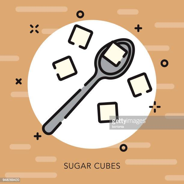 sugar open outline coffee & tea icon - sugar cube stock illustrations, clip art, cartoons, & icons