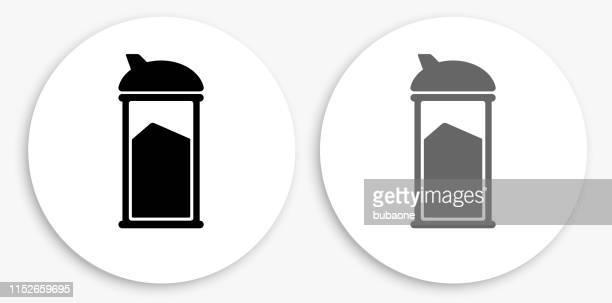 Sugar Shaker Black and White Round Icon