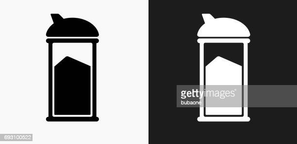 Sugar Shaker Icon on Black and White Vector Backgrounds