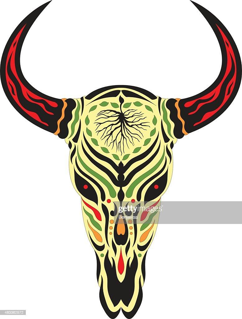 sugar skull day of the dead illustrations design, bull skull