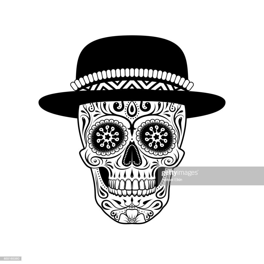 Sugar skull in hat. Black and white.
