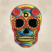 Sugar skull mexico, day of dead - Vector Illustration