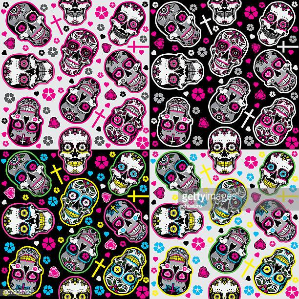 Sugar skulls Day of the Dead Seamless backgrounds set