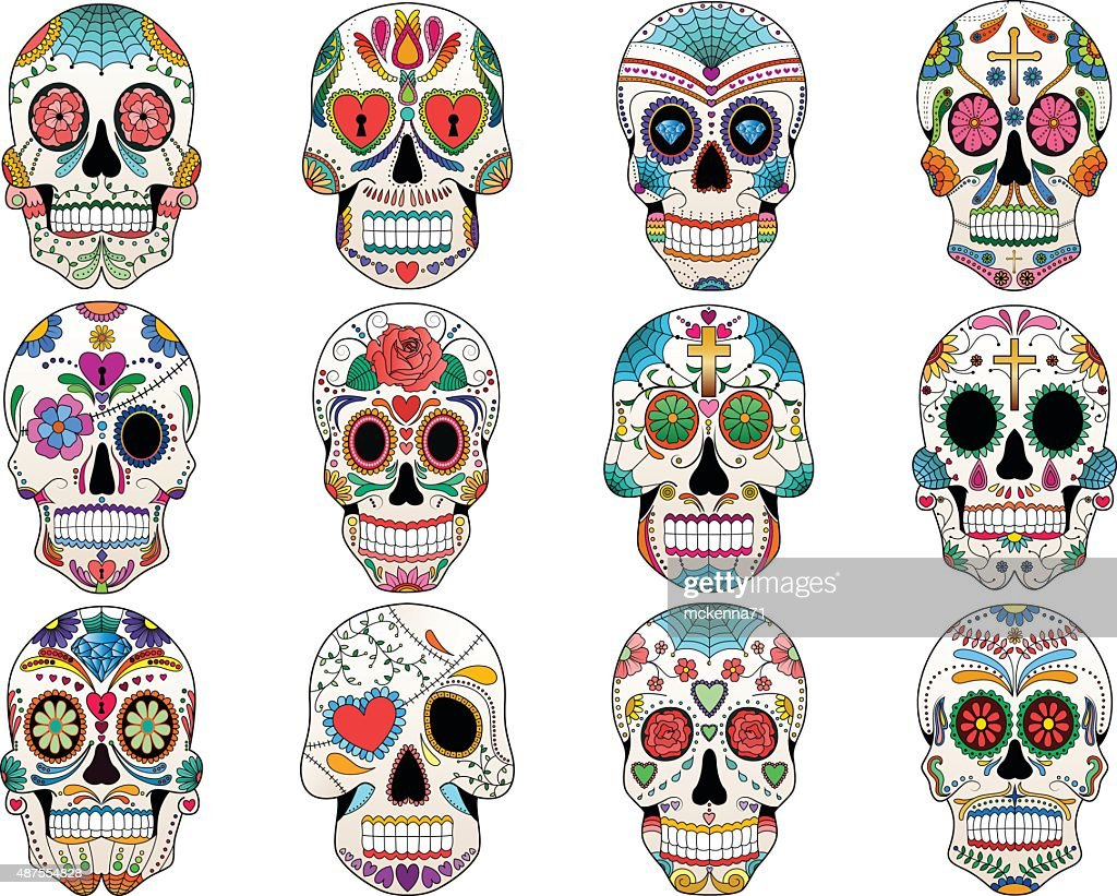 Sugar Skulls Day of the Dead Vector Set