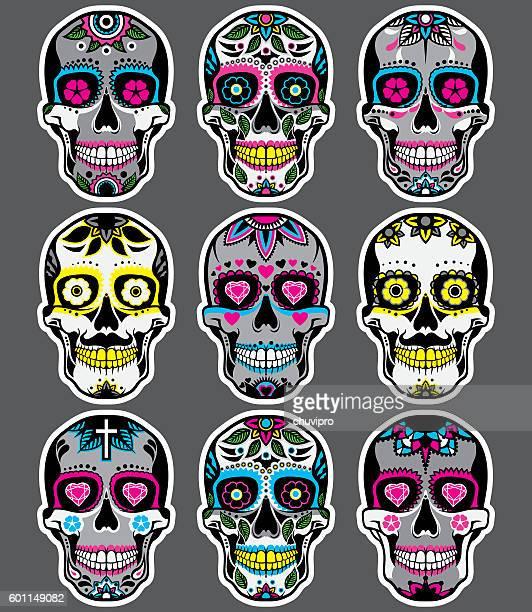ilustrações de stock, clip art, desenhos animados e ícones de sugar skulls day of the dead vector set - mexicano