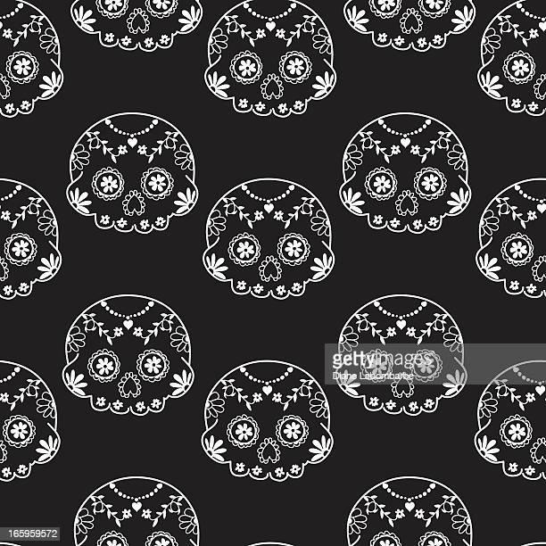 ilustraciones, imágenes clip art, dibujos animados e iconos de stock de azúcar cráneo sin costuras fondo - dia de muertos