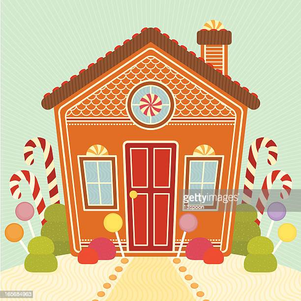 sugary sweet gingerbread house - gingerbread house stock illustrations, clip art, cartoons, & icons
