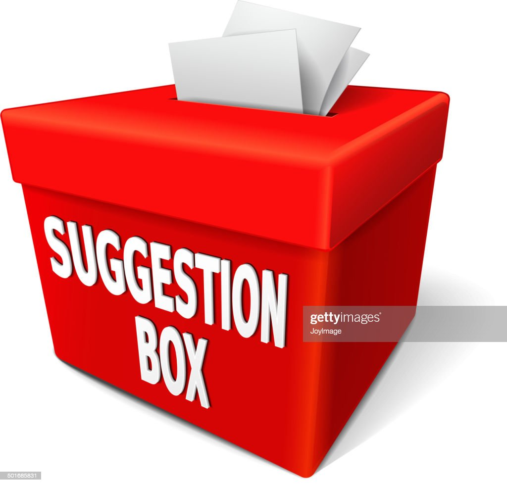 suggestion box with feedback notes