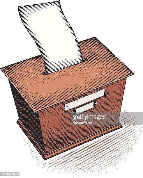 ilustraciones, imágenes clip art, dibujos animados e iconos de stock de sugerencia/urnas - urna de voto