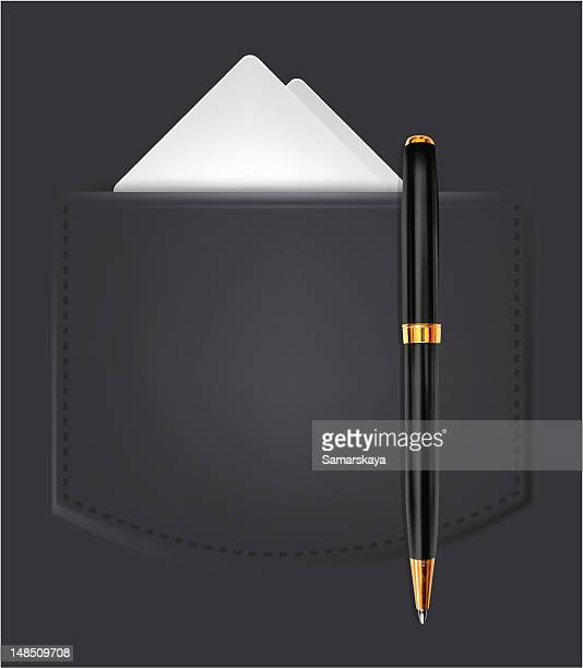 suit pocket - ballpoint pen stock illustrations, clip art, cartoons, & icons