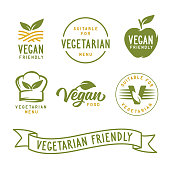Suitable for vegetarian. Vegan related labels set. Vector vintage illustration.