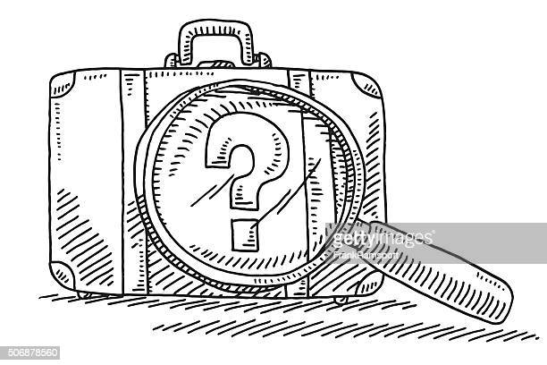 suitcase and loupe baggage security check drawing - security scanner stock illustrations