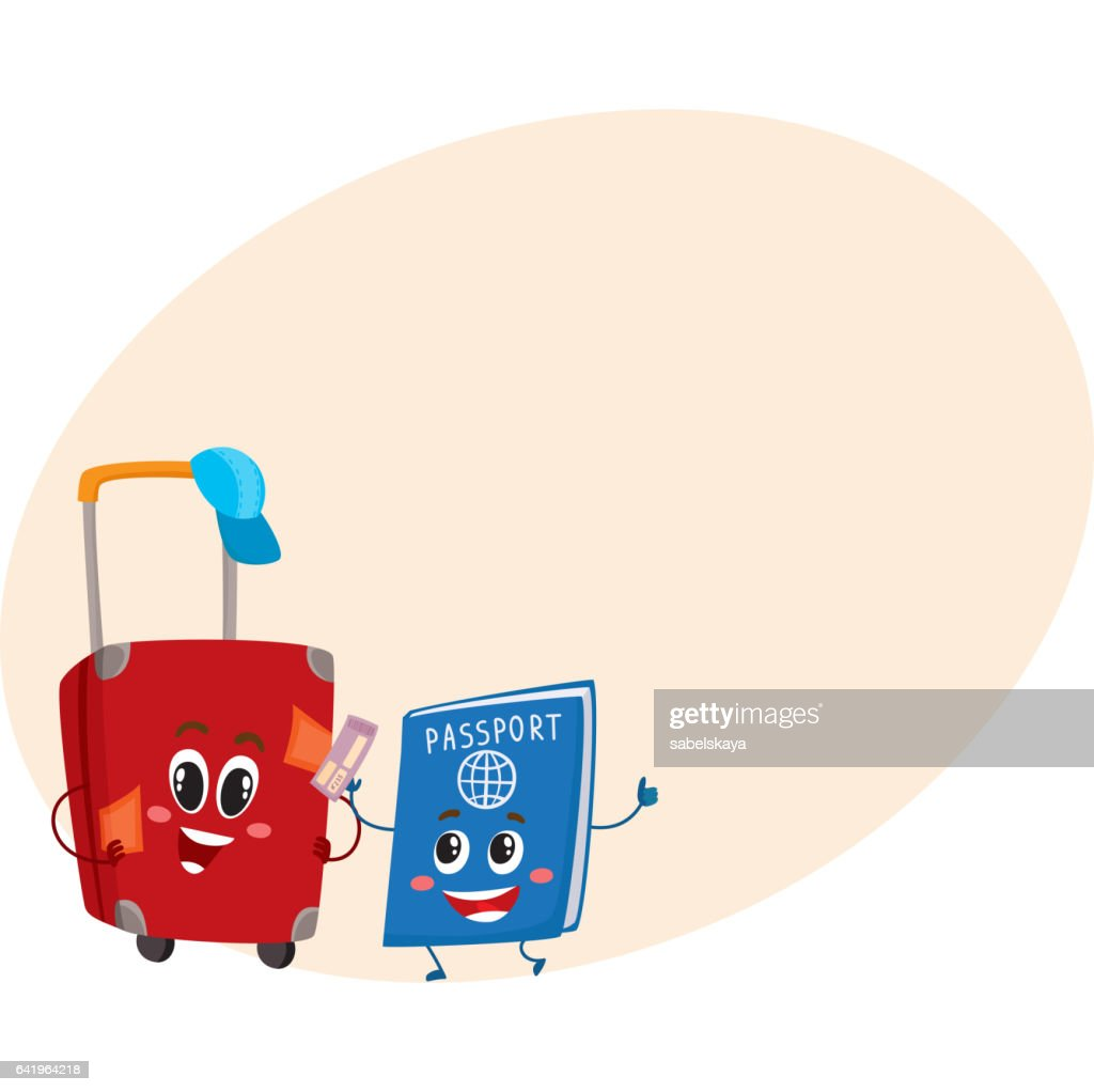 Suitcase and passport characters, travelling, vacation concept