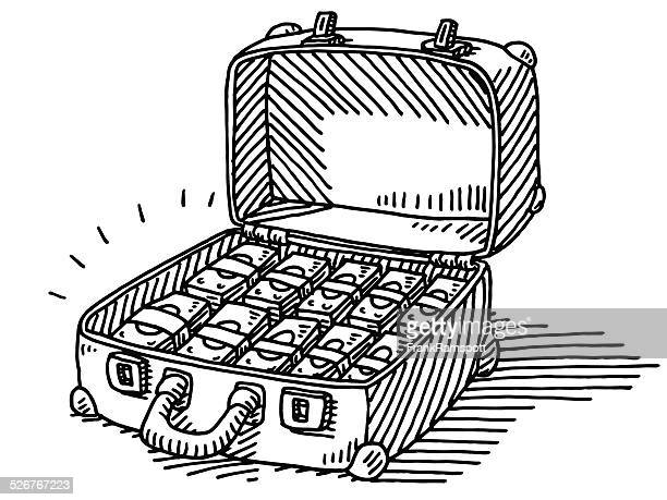 Suitcase Full Of Money Banknotes Drawing