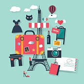 Suitcase in Paris tourism concept image.Vacation flat vector french icons