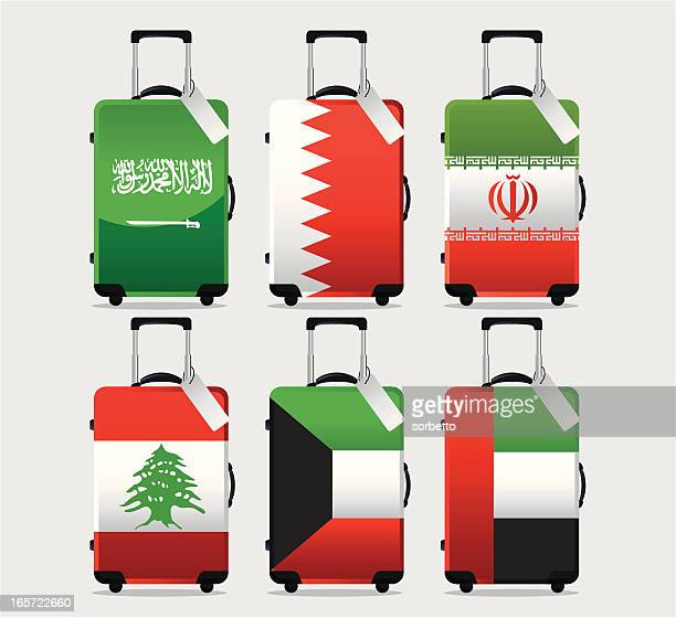 suitcase national flag collection - bahrain stock illustrations, clip art, cartoons, & icons
