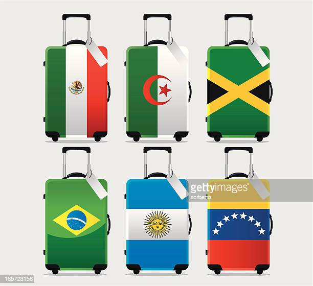 suitcase national flag collection - jamaican culture stock illustrations, clip art, cartoons, & icons