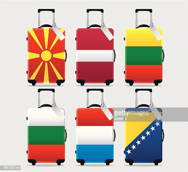 suitcase national flag collection - luggage tag stock illustrations, clip art, cartoons, & icons