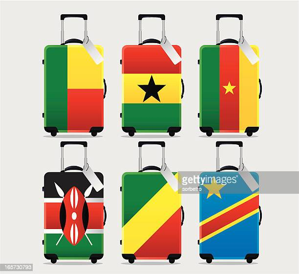 suitcase national flag collection - ghana stock illustrations, clip art, cartoons, & icons